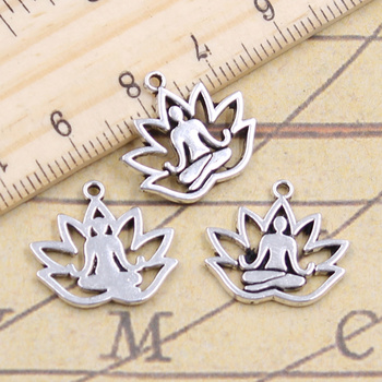 30pcs Charms Yoga Om Lotus Pose Padmasana 16x18mm Tibetan Pendant Crafts Making Findings Handmade Antique DIY Jewelry